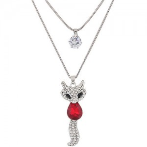 Elegant Fox Pendant Dual-layer Long Chain Style High Fashion Costume Necklace - Red