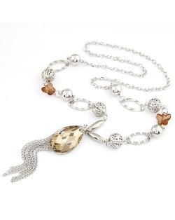 Graceful Butterfly Chain Artificial Crystal Pendant with Tassel Design Fashion Statement Necklace - Silver