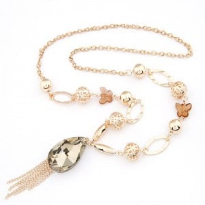 Graceful Butterfly Chain Artificial Crystal Pendant with Tassel Design Fashion Statement Necklace - Golden