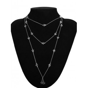 Popular Stars Triple Layers Official Lady Fashion Costume Necklace - Silver