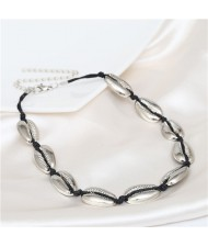 Alloy Seashell Vintage Style Women Costume Necklace - Silver