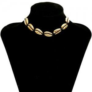 Alloy Seashell Vintage Style Women Costume Necklace - Golden + Black