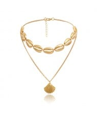 Bohemian Fashion Dual-layer Design Alloy Seashell Women Choker Necklace - Golden