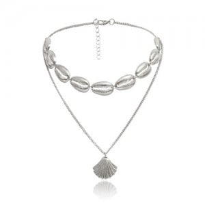 Bohemian Fashion Dual-layer Design Alloy Seashell Women Choker Necklace - Silver