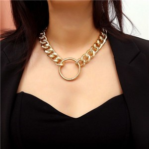 Hoop Pendant Chunky Chain Design Punk Fashion Costume Necklace - Golden