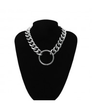 Hoop Pendant Chunky Chain Design Punk Fashion Costume Necklace - Silver