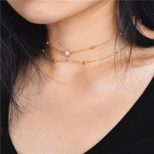 Shining Rhinestone Embellished Two Layers Alloy Necklace - Golden