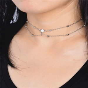 Shining Rhinestone Embellished Two Layers Alloy Necklace - Silver