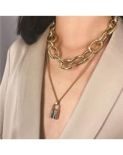 Lock Pendant Dual Layers Chunky Chain Bold Fashion Costume Necklace - Golden