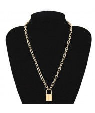 One-layer Long Chain Lock Pendant High Fashion Costume Necklace - Golden