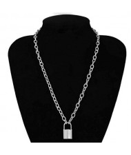 One-layer Long Chain Lock Pendant High Fashion Costume Necklace - Silver