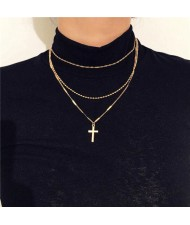 Triple Layers Vintage Cross Pendant High Fashion Necklace - Golden