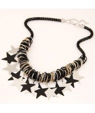 Contrast Color Stars with Hoops Design Black Chain Fashion Necklace