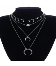 Alloy Arch and Sequins Triple Layers High Fashion Necklace - Silver