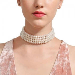 Four Layers Artificial Pearl Fashion Women Costume Statement Necklace