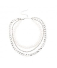 Triple Layers Pearl and Alloy Mixed Chain High Fashion Women Statement Necklace - Silver