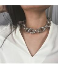 Chunky Chain Bold Fashion Choker Necklace and Bracelet 2 pcs Set - Silver