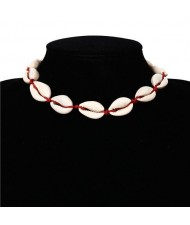 Natural Seashell Beach Fashion Short Costume Necklace - Red