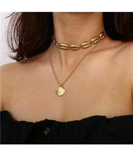 Coconut Tree and Seashell Combo Design Triple Layer Women Costume Necklace - Golden