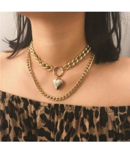 Creative Openable Heart Pendant Dual Layers Chunky Chain Short Costume Necklace - Golden