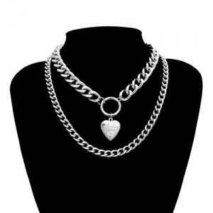 Creative Openable Heart Pendant Dual Layers Chunky Chain Short Costume Necklace - Silver
