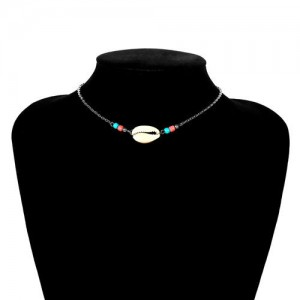 Natural Seashell with Colorful Beads Combo Design Folk Style Costume Necklace - Silver