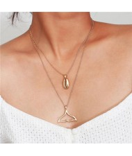 Alloy Seashell and Fish Tail Pendants Combo Dual Layers High Fashion Necklace - Golden