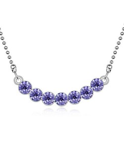 Austrian Crystal Romantic Fashion Platinum Plated Necklace - Purple