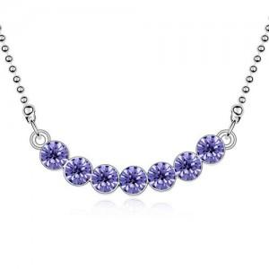 Austrian Crystal Romantic Fashion Platinum Plated Necklace - Purple