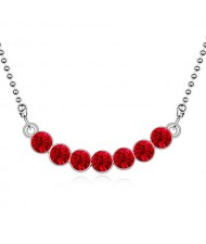 Austrian Crystal Romantic Fashion Platinum Plated Necklace - Red