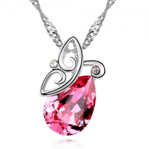 Flying Butterfly Inspired Austrian Crystal Necklace - Rose