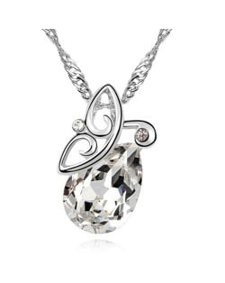 Flying Butterfly Inspired Austrian Crystal Necklace - White