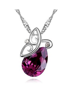 Flying Butterfly Inspired Austrian Crystal Necklace - Dark Red
