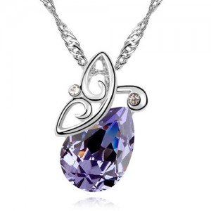 Flying Butterfly Inspired Austrian Crystal Necklace - Violet