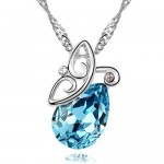 Flying Butterfly Inspired Austrian Crystal Necklace - Aquamarine