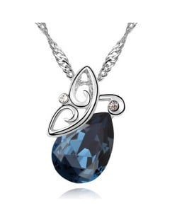 Flying Butterfly Inspired Austrian Crystal Necklace - Ink Blue
