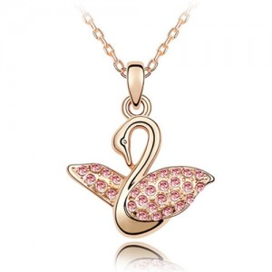 Austrian Crystal Embellished Swan Pendant Rose Gold Plated Necklace - Light Rose