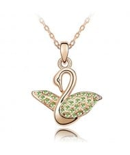 Austrian Crystal Embellished Swan Pendant Rose Gold Plated Necklace - Olive