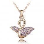 Austrian Crystal Embellished Swan Pendant Rose Gold Plated Necklace - Violet