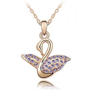 Austrian Crystal Embellished Swan Pendant Rose Gold Plated Necklace - Violet