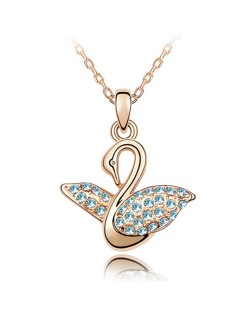 Austrian Crystal Embellished Swan Pendant Rose Gold Plated Necklace - Aquamarine