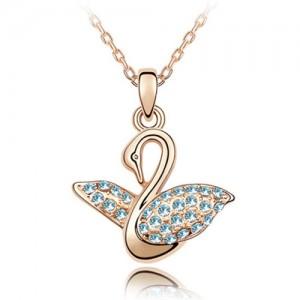 Austrian Crystal Embellished Swan Pendant Rose Gold Plated Necklace - Aquamarine