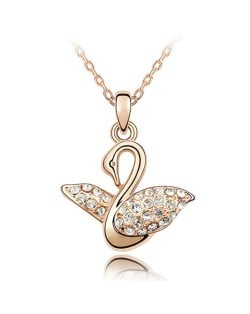 Austrian Crystal Embellished Swan Pendant Rose Gold Plated Necklace - White
