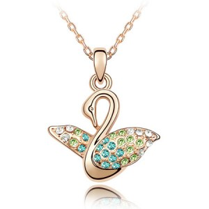 Austrian Crystal Embellished Swan Pendant Rose Gold Plated Necklace - Blue and Green