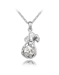 Fortune Bag Pendant Austrian Crystal Necklace - Platinum