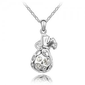 Fortune Bag Pendant Austrian Crystal Necklace - Platinum
