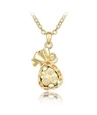 Fortune Bag Pendant Austrian Crystal Necklace - Golden