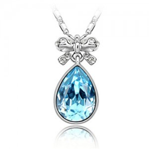 Delicate Bowknot Embellished Angel Tear Austrian Crystal Platinum Plated Necklace - Aquamarine