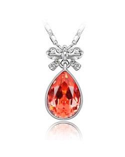 Delicate Bowknot Embellished Angel Tear Austrian Crystal Platinum Plated Necklace - Orange Red