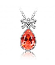 Delicate Bowknot Embellished Angel Tear Austrian Crystal Platinum Plated Necklace - Orange Red